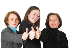 Business female management team - thumbs up Royalty Free Stock Images