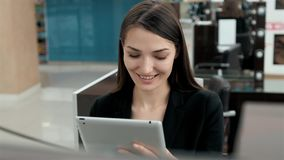 Business female tablet technology city traveller tourism investment, arab woman in modern office consultant with tablet Royalty Free Stock Image