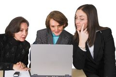 Business female team with laptop Royalty Free Stock Photos