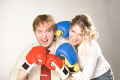 Business fight. Funny business team celebrating victory Stock Photos