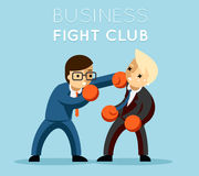 Business fight club. Boxing and glove, businesspeople and violence, boxer strength. Vector illustration Royalty Free Stock Photos