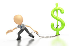 Business figure chained to a dollar sign. A business figure leans into the camera, a chain on his leg is attached to a green dollar sign.  On a white background Stock Image