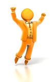 Business figure cheer. Orange business figure cheer and jump for joy royalty free illustration