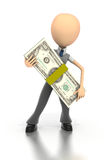 Business figure holds giant stack of money Royalty Free Stock Photos