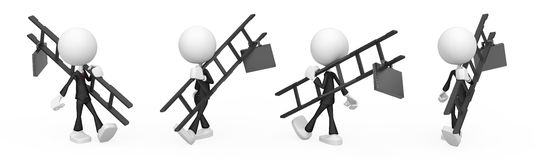 Business Figure, Ladder. Small 3d businessman cartoon character figure, over white, isolated Royalty Free Stock Photo