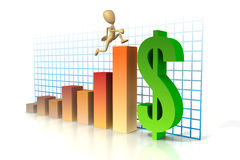 Business figure run up graph Royalty Free Stock Images