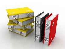3d illustration of archive folders stack. Business files and folders isolated in white background Royalty Free Stock Photography