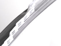 Business files with tabs. Indicating papers on business topics Stock Photo