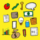 Business finace doodle color Royalty Free Stock Photography