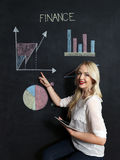 Business and finaces concept - smiling business woman presenting. Financial stock image