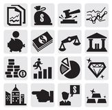 Business and finance. Vector black business and finance icons set on gray Royalty Free Stock Photo