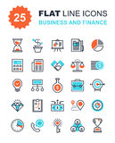 Business and Finance. Abstract vector collection of flat line business and finance icons. Elements for mobile and web applications Stock Image