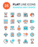 Business and Finance. Abstract vector collection of flat line business and finance icons. Elements for mobile and web applications Royalty Free Stock Photography