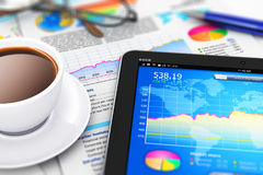 Business, finance and accounting concept. Creative abstract mobile office, stock exchange market trading, statistics accounting, financial development and Stock Photos