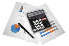 Business, finance and accounting concept. Office black calculator and pen on financial reports isolated on white background Royalty Free Stock Image