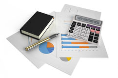 Business, finance and accounting concept 3. Office calculator, notepad, and pen on financial reports isolated on white background Stock Photography