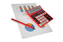 Business, finance and accounting concept. Office red calculator, paper and pen on financial reports isolated on white background Stock Images