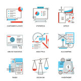 Business and finance accounting line icons set. Thin line icons of business planning process, company accounting organization, customer survey, corporate taxes Royalty Free Stock Images