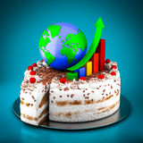 Business, finance, analytic and cake. Business finance, statistics, analytic, tax and accounting on a blue background Royalty Free Stock Photos