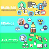 Business, Finance and Analytics Banners with Line Icons. Vector Illustration Royalty Free Stock Photos