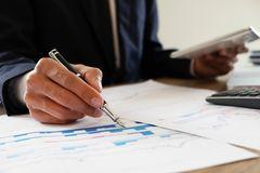 Business finance, auditing, accounting, consulting Collaboration, consultation royalty free stock photo
