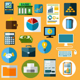 Business, finance and bank flat icons Royalty Free Stock Photos