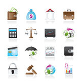 Business, finance and bank icons. Vector icon set Stock Photos