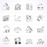 Business, finance and bank icons Royalty Free Stock Photography