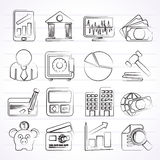 Business, finance and bank icons Stock Photos
