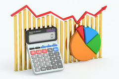 Business finance, banking and accounting concept. Business finance, banking and accounting concept, charts with calculator. 3D rendering Royalty Free Stock Photos