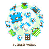 Business, finance, banking, marketing world, isolated vector image Royalty Free Stock Photos