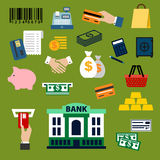 Business, finance, banking and shopping flat icons. Finance, banking and shopping icons with dollar bills and coins, credit card, money bags and handshake Stock Photo