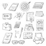 Business, finance and banking sketch icons Royalty Free Stock Images