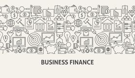 Business Finance Banner Concept. Vector Illustration of Line Web Design Stock Photography