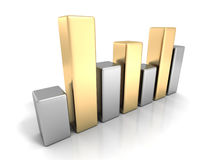 Business Finance Bar Chart Graph. Silver Golden Design Royalty Free Stock Photos
