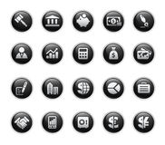 Business & Finance // Black Label Series. Vector icons set in glossy black buttons Royalty Free Stock Photos