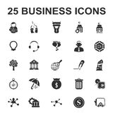 Business, Finance 25 black simple icons set Royalty Free Stock Photography