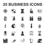 Business, Finance 25 black simple icons set Stock Photography
