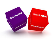 Business and finance blocks. Concept. two blocks spelling business and finance terms Royalty Free Stock Photos