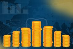 Business and finance blue background with Stack of Golden Coins Stock Images