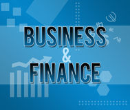 Business and Finance Blue Themed Background. A techy style business style background with Business and Finance text on it royalty free stock photography