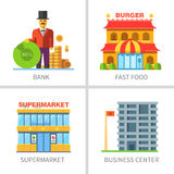 Business and finance. Building of shops: bank, fast food, restaurant, supermarket, business center. Vector flat illustrations Stock Images