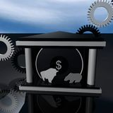 Business Finance Bull and Bear Royalty Free Stock Photography