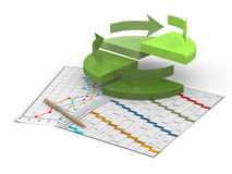 Business finance chart, diagram, bar, graphic. On a white Stock Photos