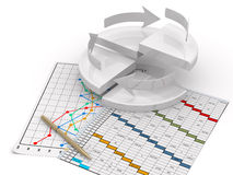 Business finance chart, diagram, bar, graphic. On a white Stock Photo
