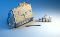 Business finance chart, diagram, bar, graphic. On blue Royalty Free Stock Photos
