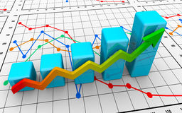 Business finance chart, diagram, bar, graphic. On white Stock Images