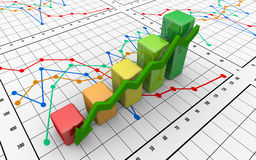 Business finance chart, diagram, bar, graphic. On white Royalty Free Stock Photo