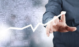 Business and finance chart and finger Stock Image