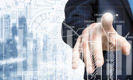 Business and finance chart and finger Royalty Free Stock Photo